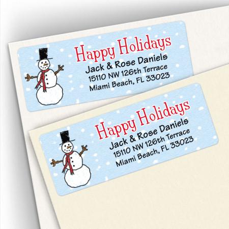 Happy Holidays Snowman Address Labels