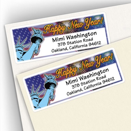Happy New Year Liberty Address Labels