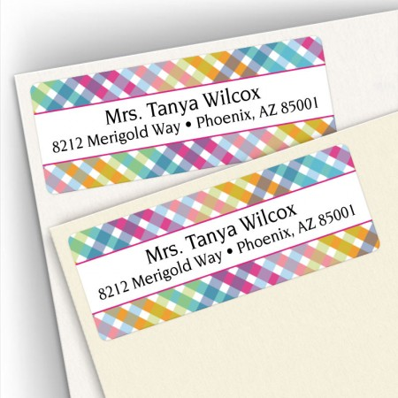 Happy Plaid Address Labels