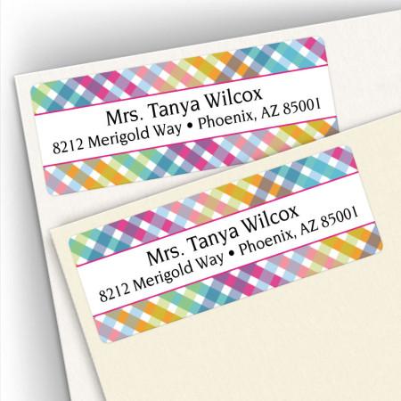 Happy Plaid Address Labels