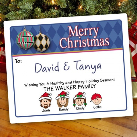 Harlequin Ornaments Holiday Gift Label