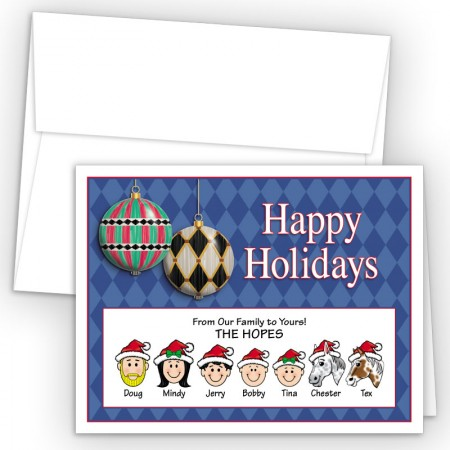 Harlequin Ornaments Happy Holiday Fold Note