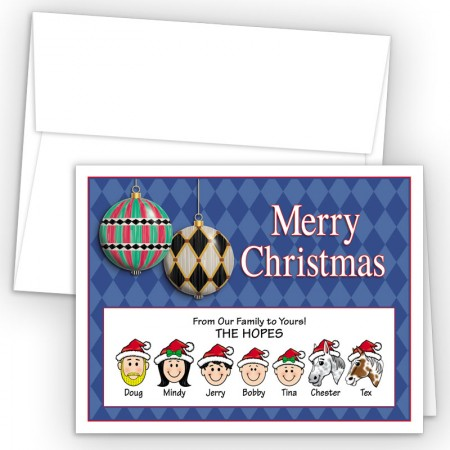 Harlequin Ornaments Merry Christmas Holiday Fold Note Head