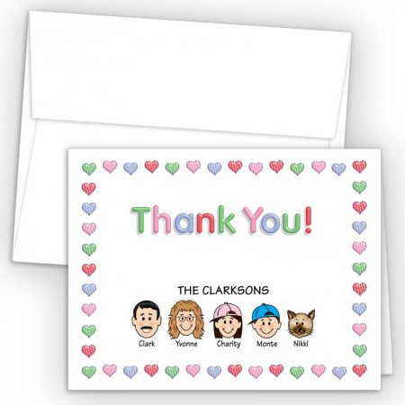 Hearts 1 Foldover Family Thank You Card