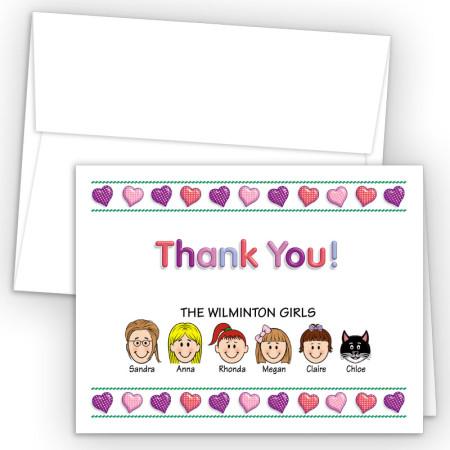 Hearts 2 Foldover Family Thank You Card