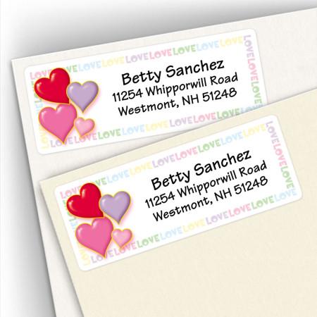 Hearts Address Labels