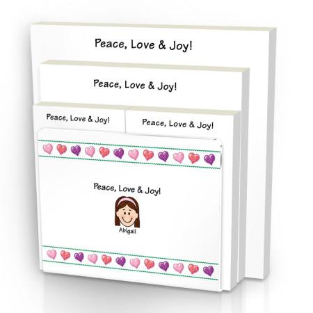Hearts Family Note Pad Set & Acrylic Holder