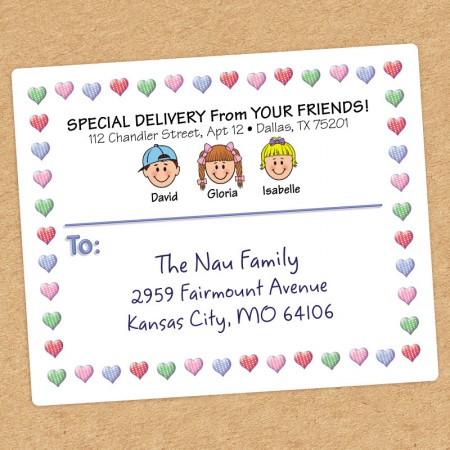 Hearts Family Shipping Label