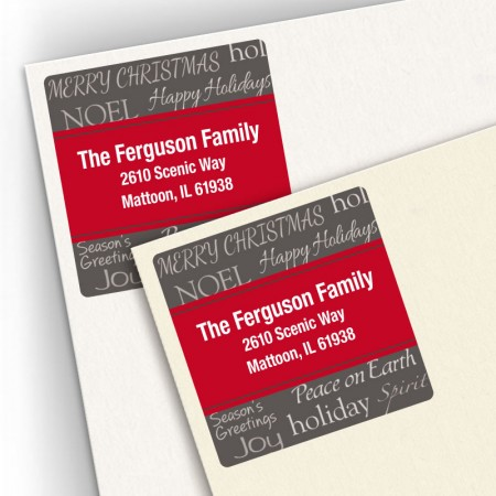 Holiday Greetings Square Address Labels