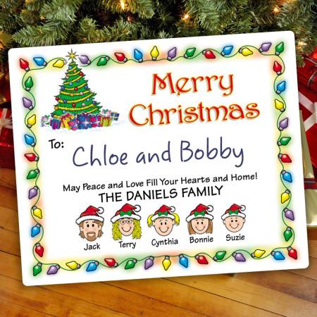 Holiday Lights Christmas Gift Label