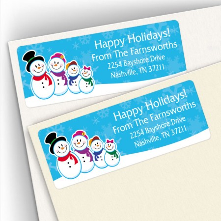Holiday Snowman Family 4 Address Labels