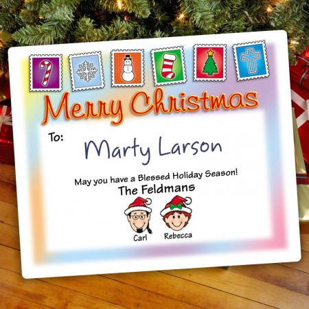 Holiday Stamps Christmas Gift Label