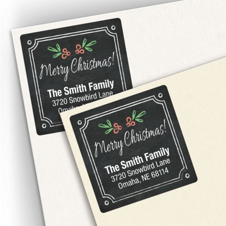 Holly Chalkboard Square Address Labels