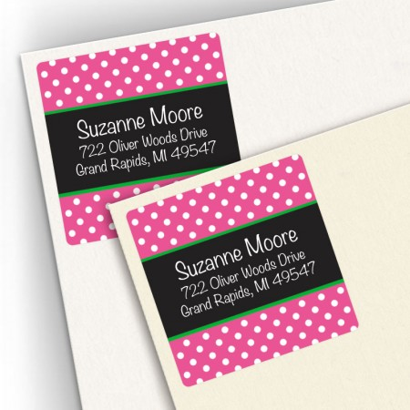 Hot Pink Polka Dots Square Address Labels
