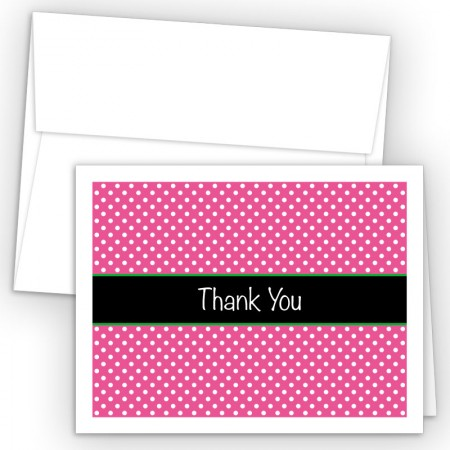 Pink Polka Dots Thank You Cards