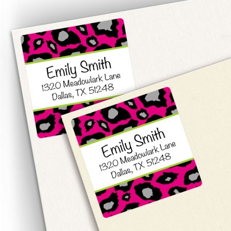 Hot Pink Snow Leopard Square Address Labels