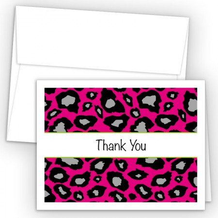 Hot Pink Snow Leopard Thank You Cards