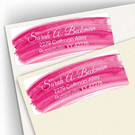 Hot Pink Watercolor Address Labels