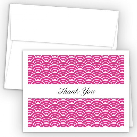 Hot Pink Woodblock Thank You Cards