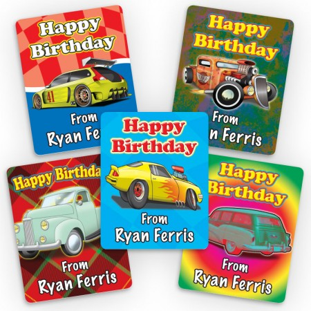 Hot Rods Mini Gift Labels