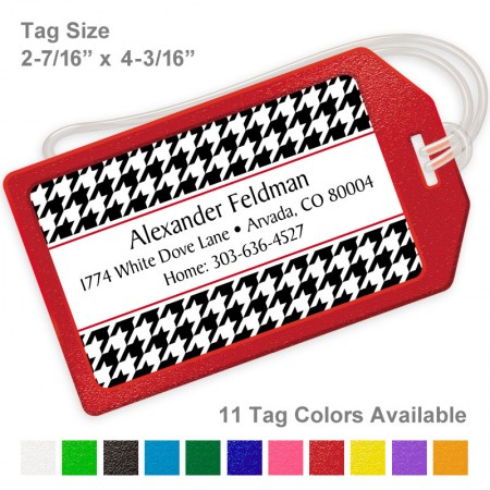 Houndstooth Pattern Black Luggage Tag