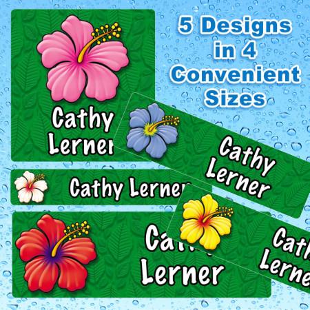 Hibiscus Flowers Waterproof Name Labels For Kids