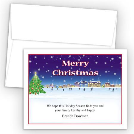 Ice Skating Merry Christmas Holiday Cards