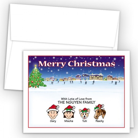 Ice Skating Merry Christmas Holiday Fold Note Head