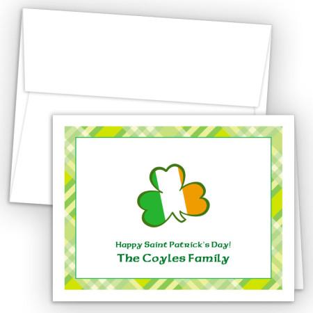 Irish Flag Shamrock Note Card