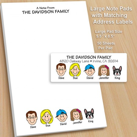 Large Family Notepad and Label Combo