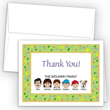Leaves Foldover Family Thank You Cards