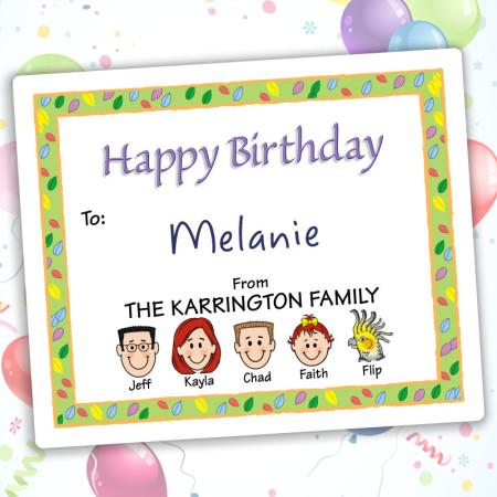 Leaves Happy Birthday Gift Label