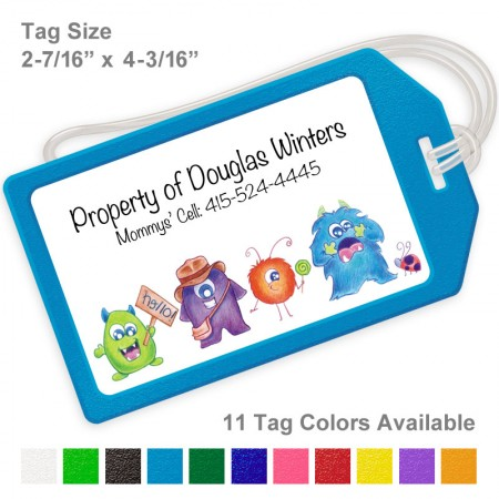 Little Cartoon Monsters Luggage Tag
