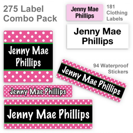 Magenta Polka Dots Label Combo Pack