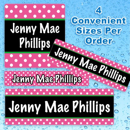 magenta-polka-dots-waterproof-name-labels-for-kids