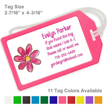 Magenta Watercolor Flower Luggage Tag