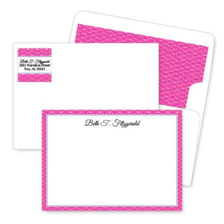 Magenta Woodblock Artistic Correspondence Card Ensembles