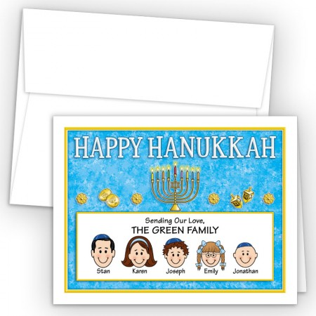 Menorah 2 Happy Hanukkah Holiday Fold Note Head
