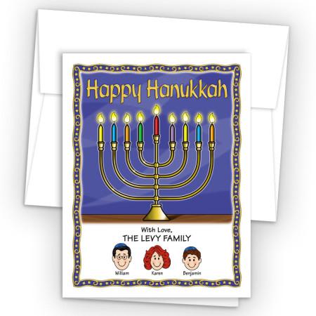Menorah Happy Hanukkah Holiday Fold Note Head