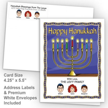 Menorah Happy Hanukkah Fold Note Set