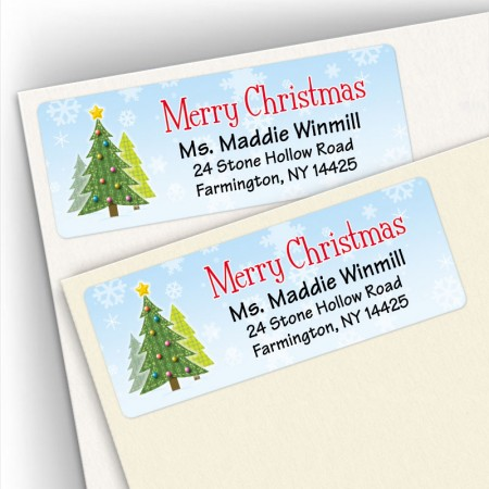 Merry Christmas Craft Trees Address Labels