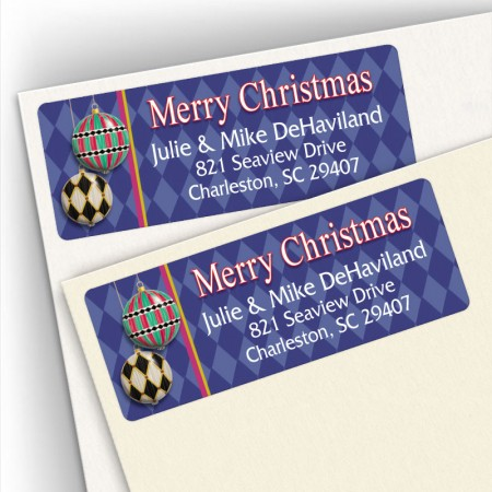 Merry Christmas Harlequin Address Labels