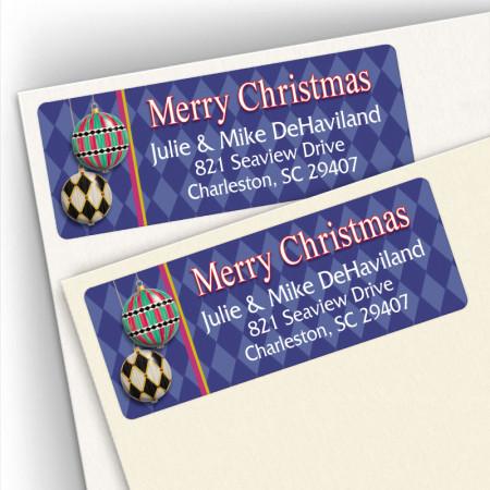 Merry Christmas Harlequin Address Labels