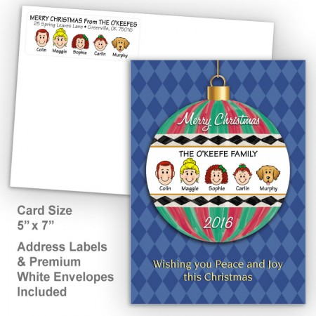 Merry Christmas Ornament Style H Christmas Card Set