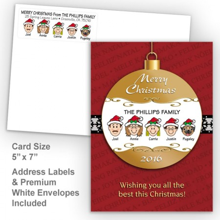 Merry Christmas Ornament Style K Christmas Card Set