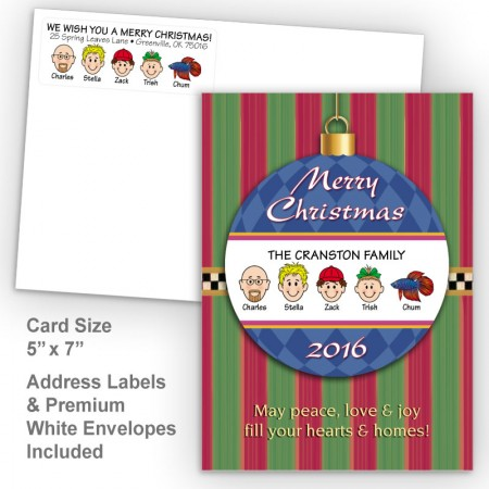 Merry Christmas Ornament Style L Christmas Card Set