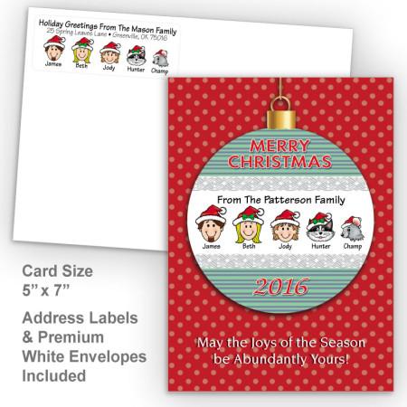 Merry Christmas Ornament Style O Christmas Card Set