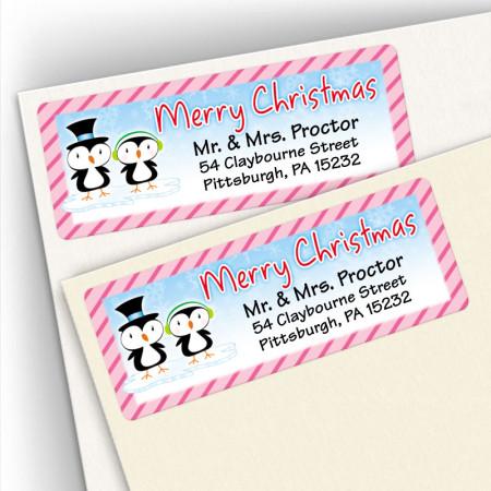 Merry Christmas Penguin Couple Address Labels