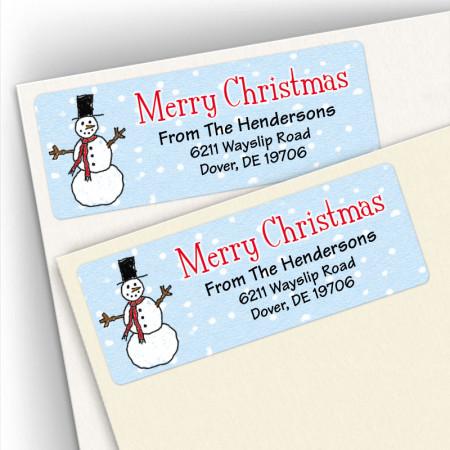 Merry Christmas Snowman Address Labels