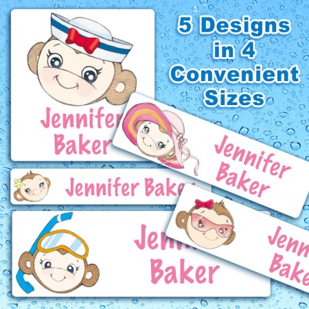 Monkey Faces Waterproof Name Labels For Kids